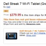 Dell Streak 7′ WiFi k předobjednání na Amazonu