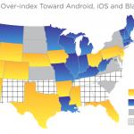 Mapa Spojených států podle dominance mobilních OS