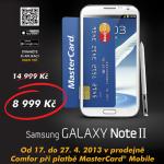Samsung Galaxy Note II může být váš za 8 990 Kč. Stačí zaplatit pomocí MasterCard Mobile