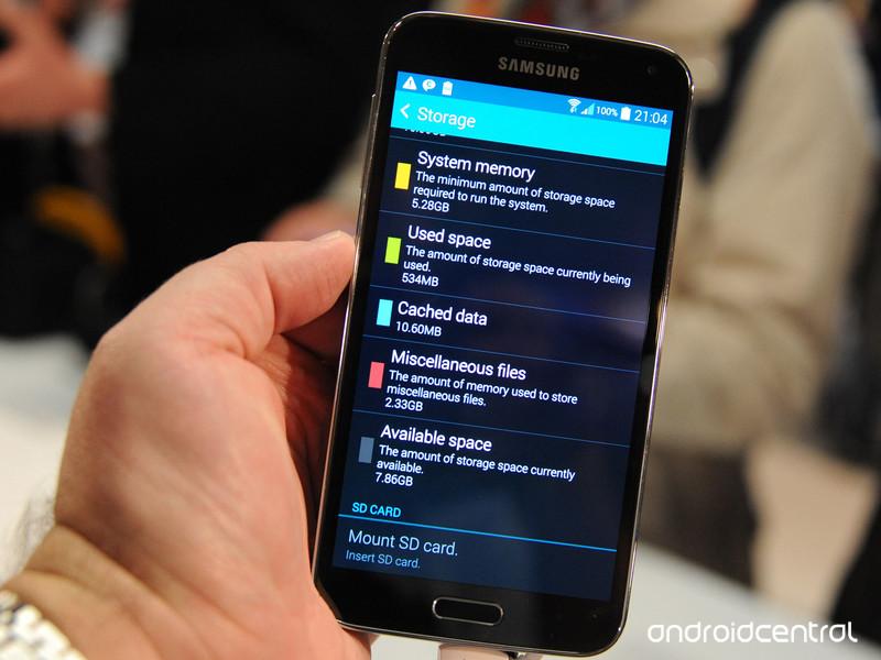 Samsung Galaxy S5 uložiště