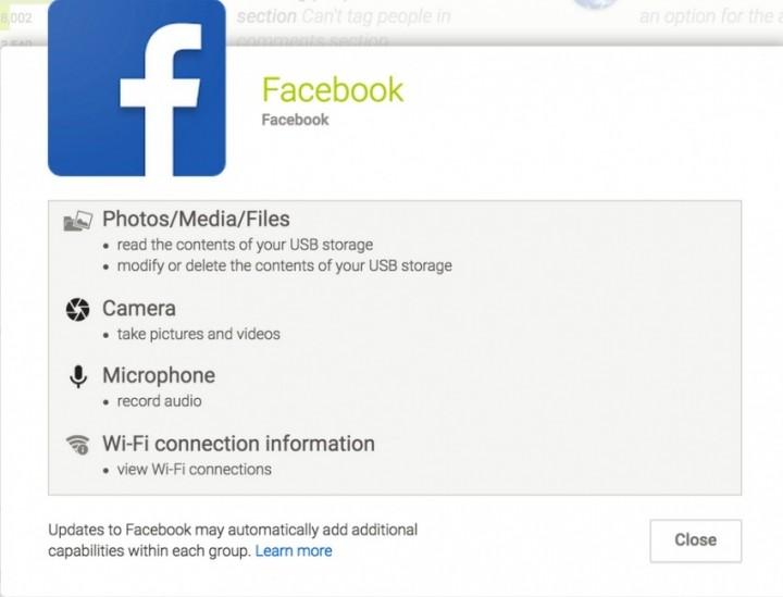 facebook permisiion