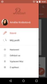 přehledné menu aplikace