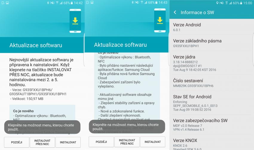 aktualizace Galaxy S7