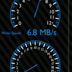 Měření rychlosti zápisu na kartu v app SD Tools.