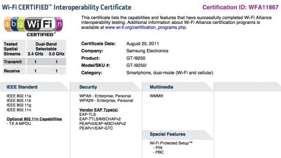 Nexus Prime - wi-fi certifikace