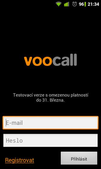 Voocall ukázka Beta verze aplikace pro Android