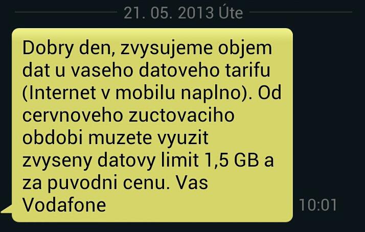 SMS oznámení Vodafone
